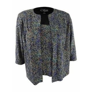 Alex Evenings Women's Plus Size Glitter Jacket & Shell Set