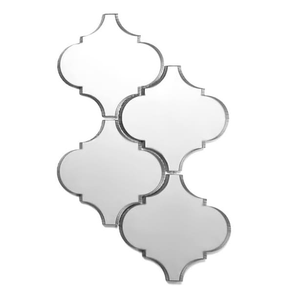"""Miseno MT-WHSREFBLT-SI Reflections - 6"""" x 6"""" Deco Wall Mosaic Tile - Glossy Glass Visual - Silver"""