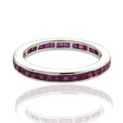 18k Gold Ruby Full Eternity Band Ring Precious Stone Jewellery Black Friday Sale