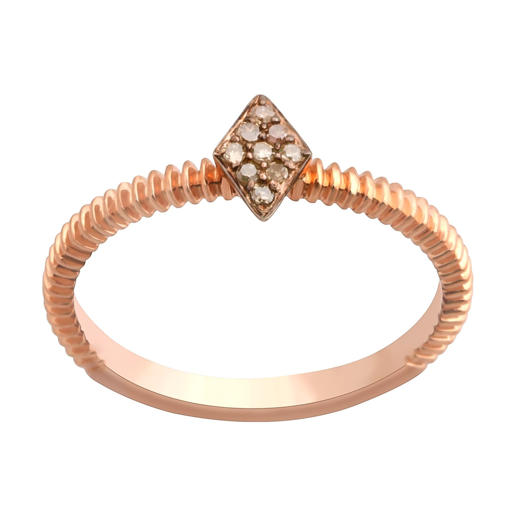 Prism Jewel 0.06Ct Round Brown Diamond Stylist Ring - Thumbnail 0