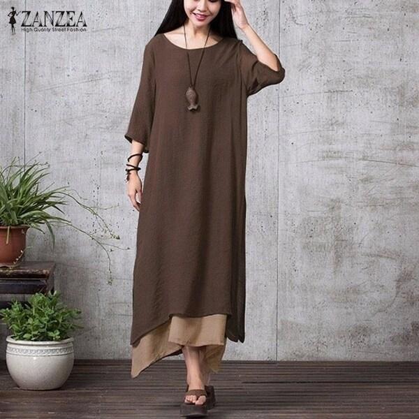 0537a6f6134 ZANZEA Fashion Cotton Linen Vintage Dress 2017 Summer Autumn Women Casual  Loose Boho Long Maxi Dresses