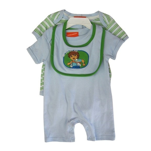 "Nickelodeon Baby Boys White ""Go Diego Go"" Bib Striped 3 Pc Romper Set"