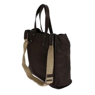 Dolce & Gabbana Brown Nylon Leather Gym Travel Shoulder Bag