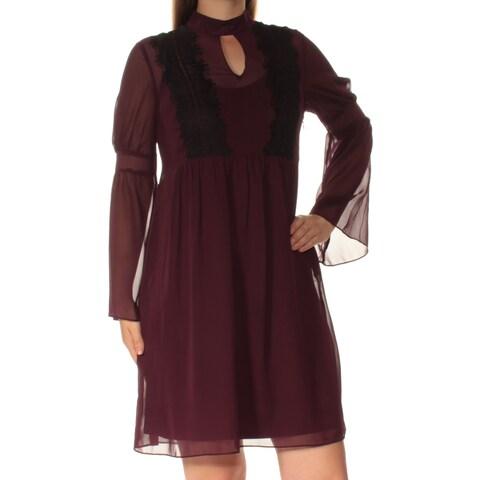 JESSICA SIMPSON Womens Purple Long Sleeve Keyhole Above The Knee Shift Dress Size: 10