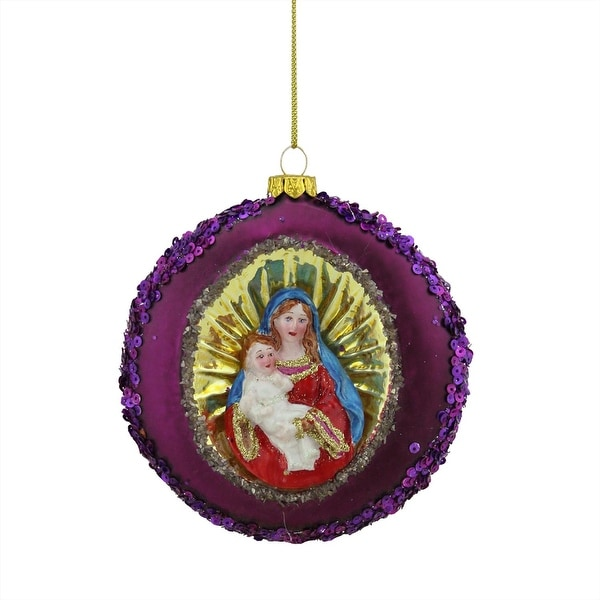 """4"""" Mary and Baby Jesus Sequin Religious Christmas Glass Disc Ornament - PURPLE"""