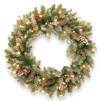 Pre-Lit Dunhill Fir Artificial Christmas Wreath with Red Berries – 30-Inch, Clear Lights - green