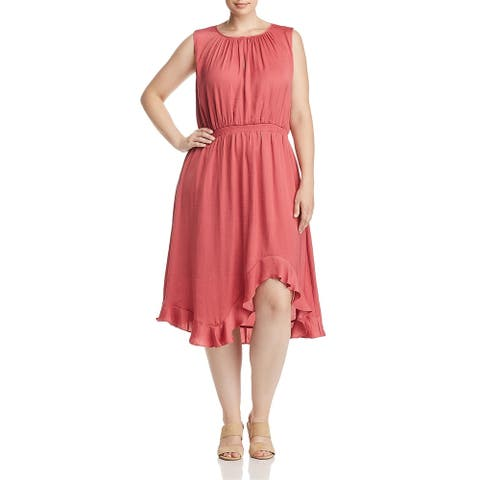 Vince Camuto Womens Plus Midi Dress Hi-Low Cinched Waist - Blush - 1X