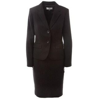Le Suit NEW Black Women's Size 4 Two-Button Textured Skirt Suit Set