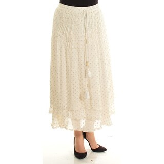 Womens Ivory Gold Maxi Peasant Skirt Size L