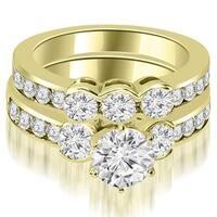 2.50 cttw. 14K Yellow Gold Bezel Set Round Cut Diamond Engagement Set