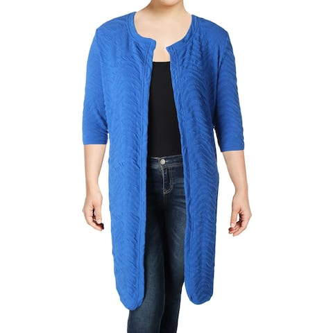 Junarose Womens Plus Cardigan Top 3/4 Sleeves Open Front