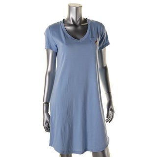Lauren Ralph Lauren Womens Cotton Short Sleeves Sleep Shirt - S