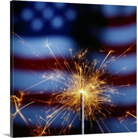"""Sparkler with American Flag"" Canvas Wall Art"
