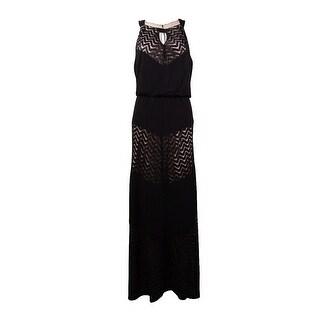 R&M Richards Women's Keyhole Glittered Chevron Jersey Dress (12P, Black/Taupe) - black/taupe - 12P
