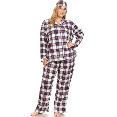White Mark Women's Plus Size Three-Piece Pajama Set