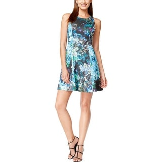 Adrianna Papell Womens Petites Cocktail Dress Sequined Floral Print