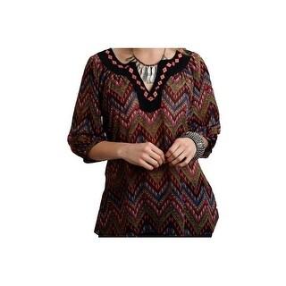 Roper Western Shirt Women Peasant 3/4 Sleeve Black 03-050-0565-7034 BL