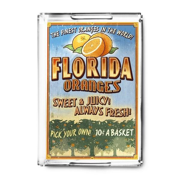 Florida - Orange Grove Vintage Sign - Lantern Press Artwork (Acrylic Serving Tray)