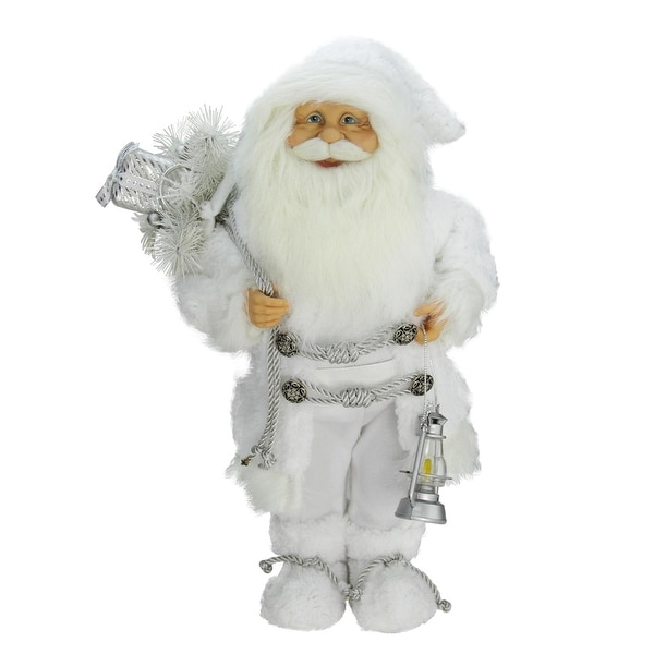 "16"" Elegant White Frost Standing Santa Claus Christmas Figure with Lantern"