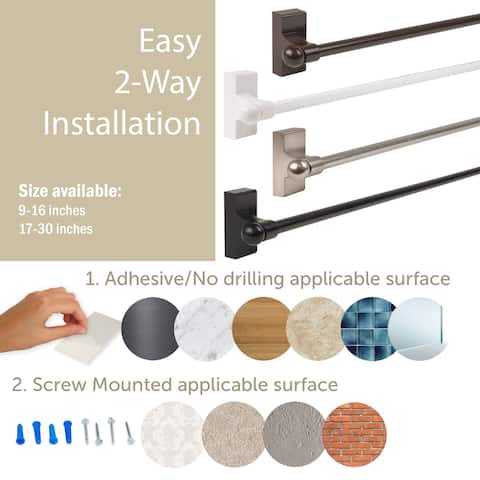 "30"" Brown Self Adhesive or Wall Mounted Curtain Rod"