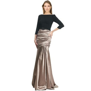 Theia Ruched Embellished Waist 3/4 Sleeve Evening Gown Dress - 10