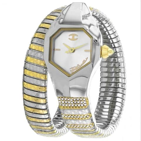 Just Cavalli Women's JC1L113M0045 'Glam Snake' Two-Tone Stainless Steel Watch - Silver