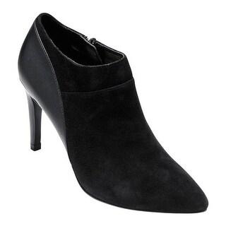 Cole Haan Women's Lattimore Shootie II Black Suede/Black Leather