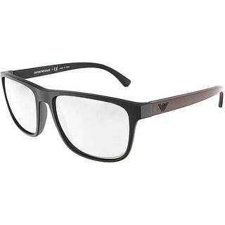 Emporio Armani Men's EA4087-50426G-57 Black Rectangle Sunglasses