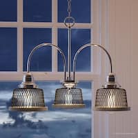 """Luxury Vintage Chandelier, 14.75""""H x 20""""W, with Industrial Chic Style, Brushed Nickel Finish by Urban Ambiance"""