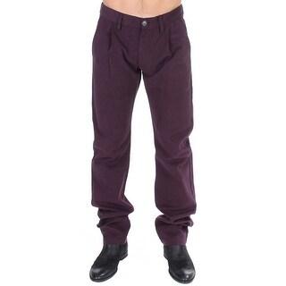 GF Ferre Purple Cotton Straight Fit Casual Pants - it48-m