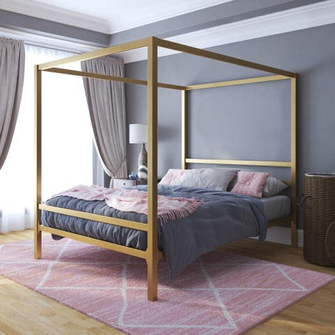 The Curated Nomad Hillard Gold Metal Modern Canopy Bed