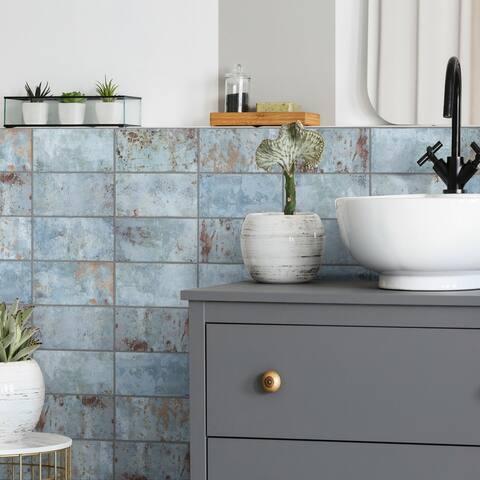 """SomerTile Biarritz Blue 3"""" x 6"""" Ceramic Wall Tile"""