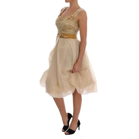 Dolce & Gabbana Gold Silk Crystal Embellished Women's Dress - it44-l