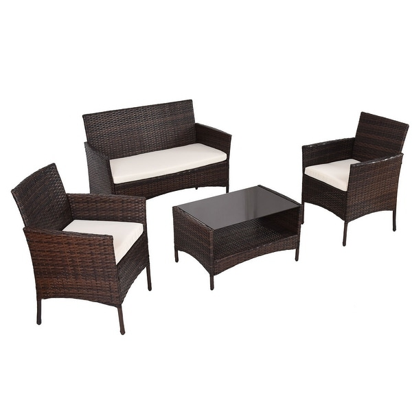 Costway 4 PCS Outdoor Patio Rattan Furniture Set Table Shelf Sofa