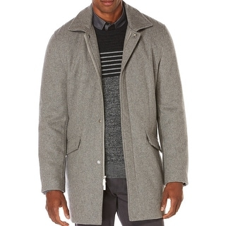 Perry Ellis NEW Gray Mens Size Small S Full Zip Wool Blends Over Coat