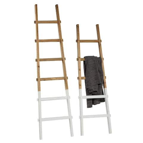 """White Dipped Natural Wooden Ladders Set Of 2 62"""" 73"""" - 19 x 2 x 73"""