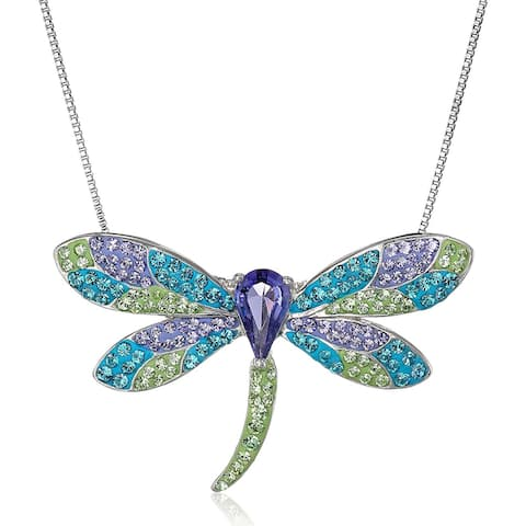 Crystaluxe Dragonfly Pendant Necklace with Swarovski Crystals in Sterling Silver - Purple