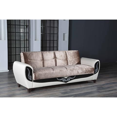 DiscountWorld Everly Living Room 3 Seat Sleeper Sofa White Vynil