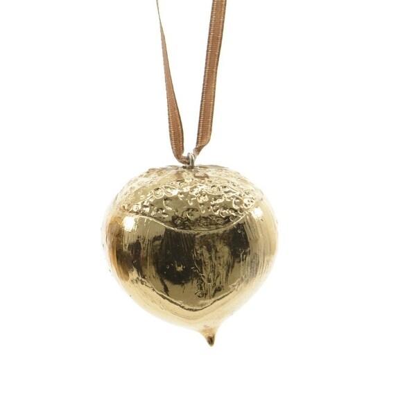 """2"""" Luxury Lodge Shiny Gold Colored Hazelnut Decorative Christmas Ornament"""