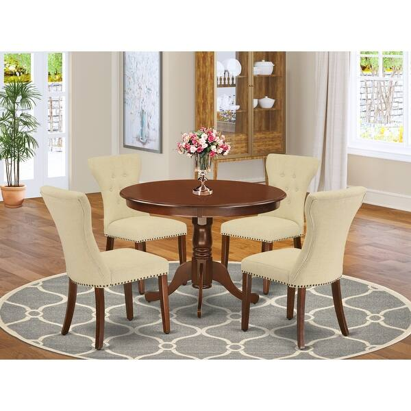 Hlga5 Lwh 35 5 Pc Small Dining Table Set 4 Parsons Dining Chairs And Round Kitchen Table Button Tufted Linen White Finish Overstock 32086049