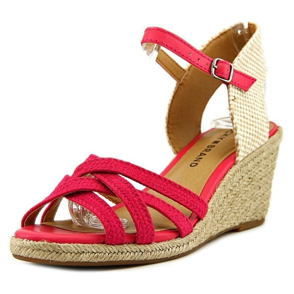 Lucky Brand Kalley3 Women Open Toe Canvas Pink Wedge Sandal