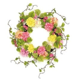 "22"" Decorative Pink and Yellow Mum and Wild Blossom Artificial Floral Wreath - Unlit"