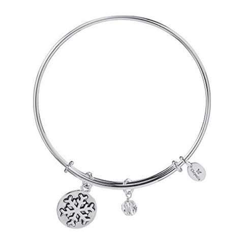 Holiday Snowflake Pendant Charm Expandable Bangle Bracelet