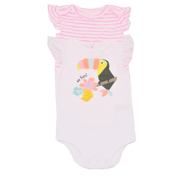 Baby Girls White Pink Stripe Parrot Flower Print 2 Pc Bodysuit Set