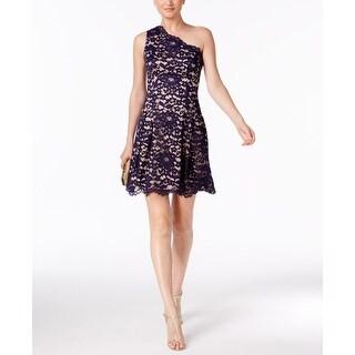 Vince Camuto Womens One-Shoulder Lace A-Line Dress