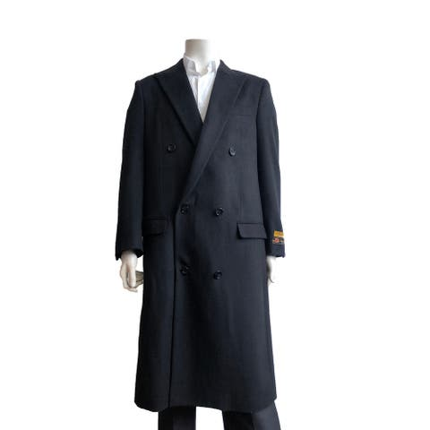 Mens Full Length Wool Double Breasted Overcoat