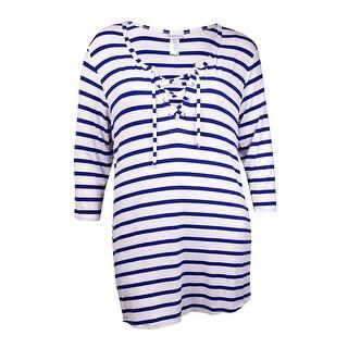 Dotti Women's Striped Hidden Pocket Coverup - NAVY/WHITE