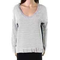 Stich & Cloth White Black Womens Size Small S Striped Knit Top