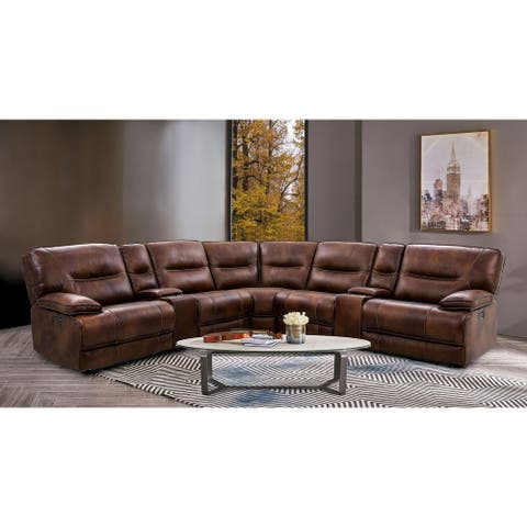Furniture of America Middi Contemporary Brown Leather Sectional