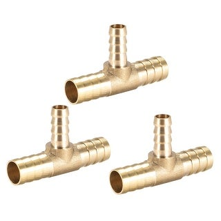 uxcell 12mm X 8mm X 12mm Brass Hose Reducer Barb Fitting Tee T-Shaped 3 Way Barbed Connector Air Water Fuel Gas 2pcs